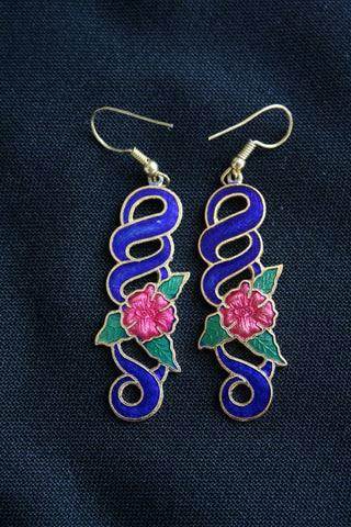 Cloisonne 'Swirl' vintage earrings