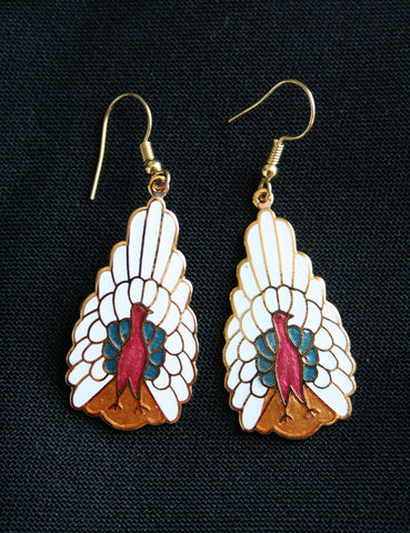 Cloisonne 'Peacock' vintage earrings