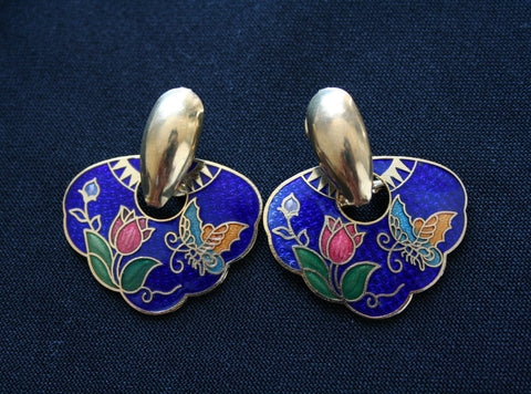 Cloisonne large vintage earrings - Pierced Ears