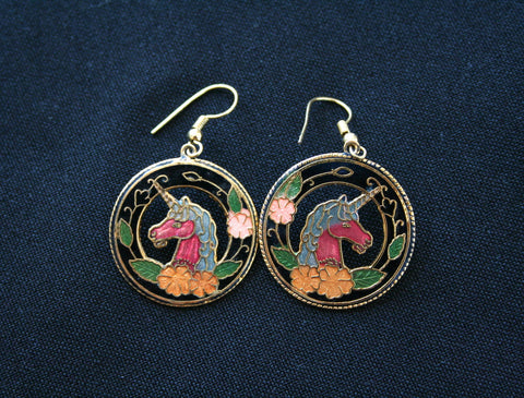 Cloisonne 'Unicorn Circle' vintage earrings