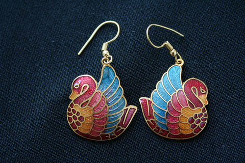 Cloisonne 'Swan' vintage earrings