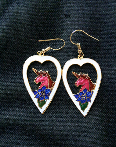 Cloisonne 'Unicorn Heart' vintage earrings