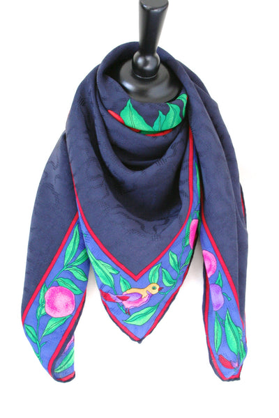 'Fruits and Birds' navy blue jacquard  silk scarf - L
