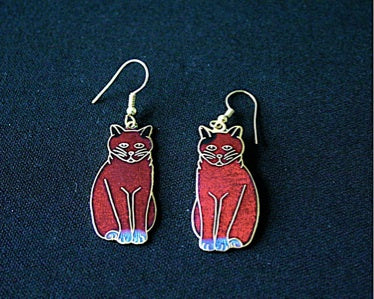 Cloisonne 'Fat Cat' vintage earrings