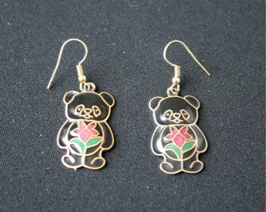 Cloisonne 'Teddy Bear' vintage  earrings