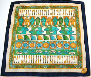 Longchamp Vintage Silk Scarf - Cutlery / Fans print - Large