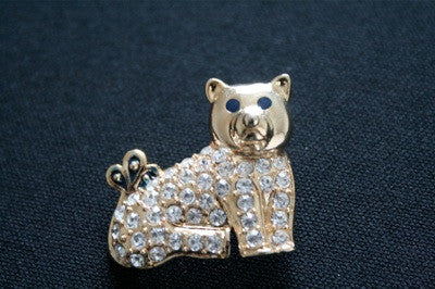 Mini 'sparkly bear' brooch in gold and diamante