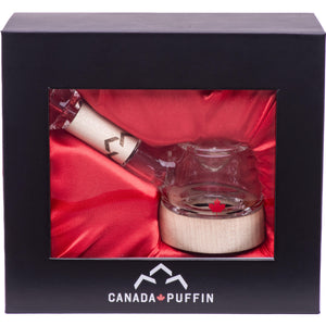 Handblown glass spoon pipe packaged in a satin lined gift box