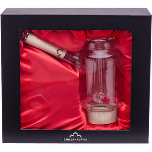Handblown glass bubbler water pipe packaged in a satin lined gift box
