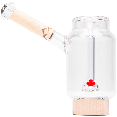 Handblown glass bubbler water pipe with Canadian Maple wood