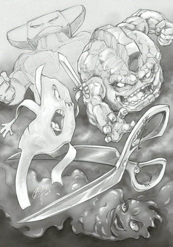 PAPER ROCK SCISSORS N' STUFF WARS #3 (DANIEL WONG PENCIL SKETCH VARIANT)
