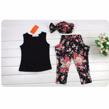 Load image into Gallery viewer, 1Set Girls clothes Sleeveless Black Shirt Pants - a-m-kidz-korner