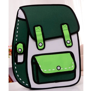 3D Jump Style 2D Drawing Cartoon Paper Bag Comic Backpack Messenger Tote Fashion Cute Student Bags Unisex Bolos - a-m-kidz-korner