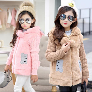 Lovely little bear Winter Faux Fur Fleece Coat - a-m-kidz-korner