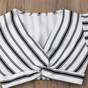 2pcs  Girls Striped Crop Tops Skirt/Dress Sundress - A&M Kidz Korner