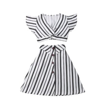 Load image into Gallery viewer, 2pcs  Girls Striped Crop Tops Skirt/Dress Sundress - A&M Kidz Korner
