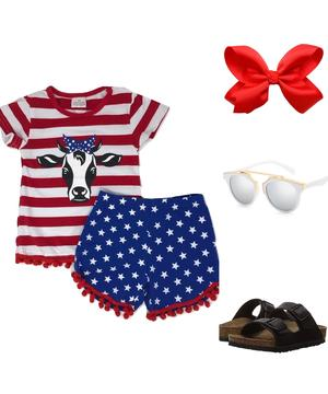 Red, White, Blue Cow Short Outfit - A&M Kidz Korner