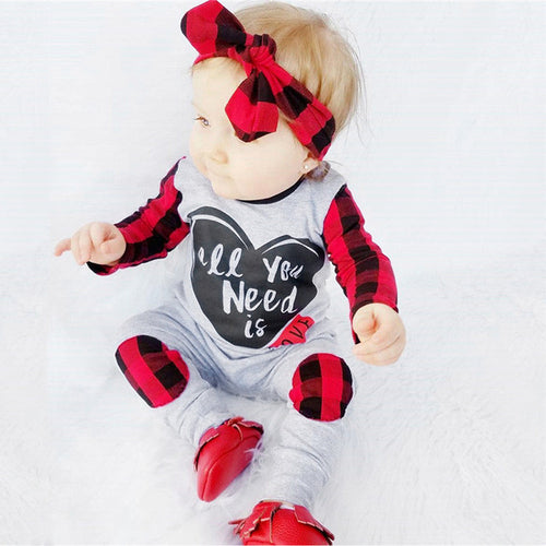 Newborn Baby Boys Girls clothes Letter Print Plaid - a-m-kidz-korner