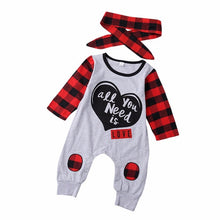 Load image into Gallery viewer, Newborn Baby Boys Girls clothes Letter Print Plaid - a-m-kidz-korner