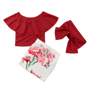 Red Floral 3 Piece Skirt Set- Available in sizes 2T-7 Years - a-m-kidz-korner