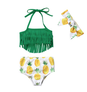 Green Pineapple 3PCS Swim Suit-Available in Sizes 12-24 mo - 4 years - a-m-kidz-korner
