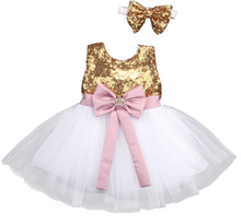 Load image into Gallery viewer, Image of Gold Sequin Tulle Princess Dress Image of Gold Sequin Tulle Princess Dress Image of Gold Sequin Tulle Princess Dress      Gold Sequin Tulle Princess Dress - a-m-kidz-korner