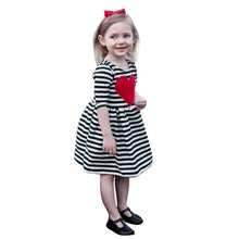 Load image into Gallery viewer, Toddler Kids Baby Girls dress lovely Heart Striped - A&M Kidz Korner