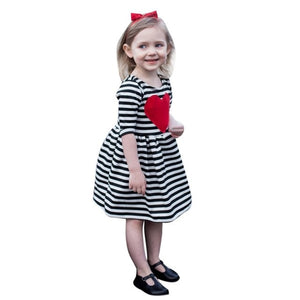 Toddler Kids Baby Girls dress lovely Heart Striped - A&M Kidz Korner