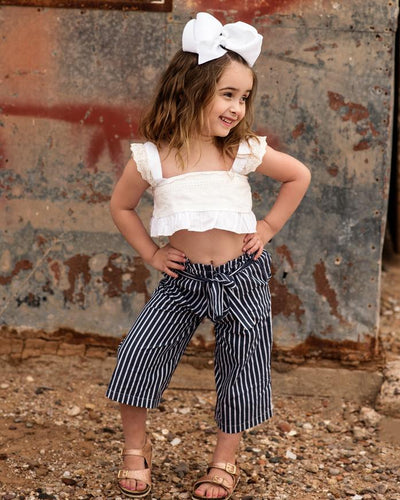 Navy & White Striped Outfit- 1-6 Years - A&M Kidz Korner