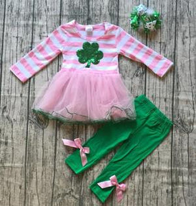 Boutique Outfit - Pink & White Striped Clover Tutu Outfit - a-m-kidz-korner