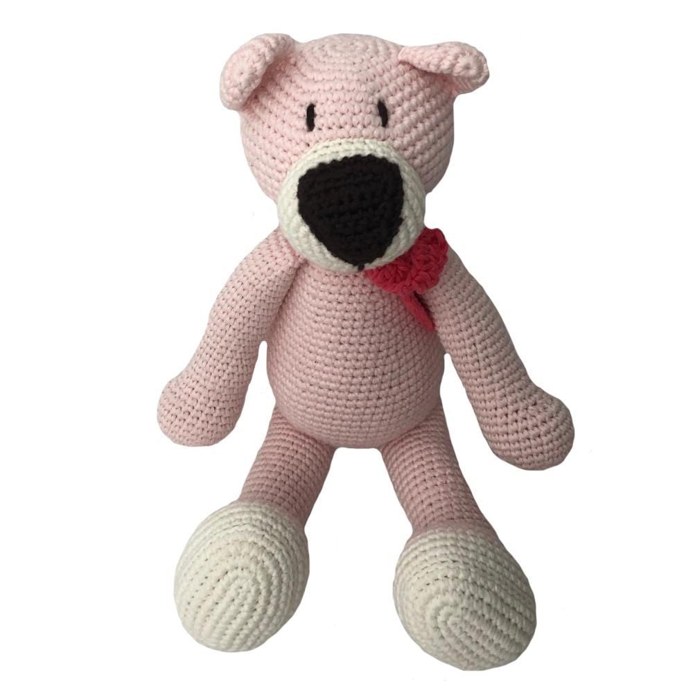 bebemoss.com stuffed animal Atty the bear - pink handmade by moms  gifts with purpose