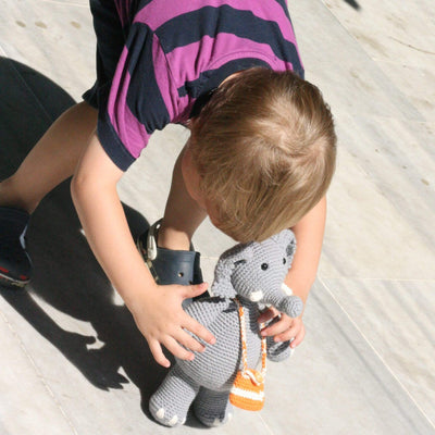bebemoss.com stuffed animal Barry the elephant handmade by moms  gifts with purpose