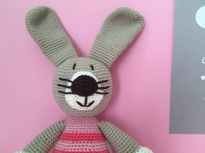 bebemoss.com stuffed animal pink stripes Petra the rabbit handmade by moms  gifts with purpose
