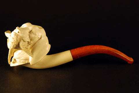 Meerschaum Dog hunting a bird
