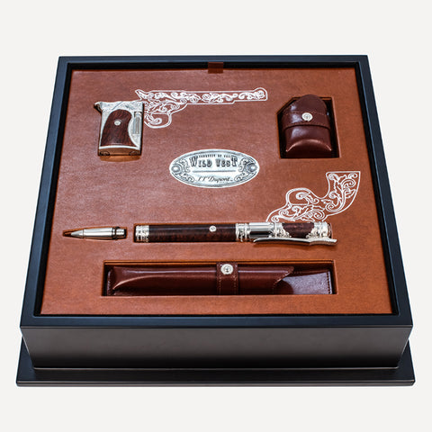 Ligne 2 / Line D - Palladium and heather wood finish fountain pen & lighter with roller block and leather cases Brown