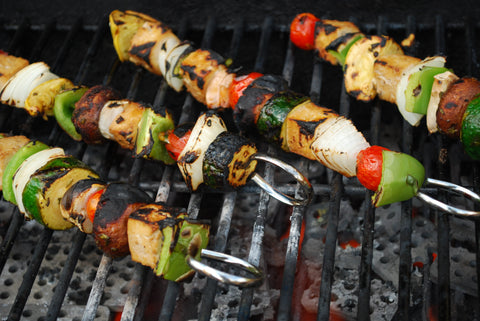 Barbeque Vegetarian Shish Kabob Recipe with cocktails
