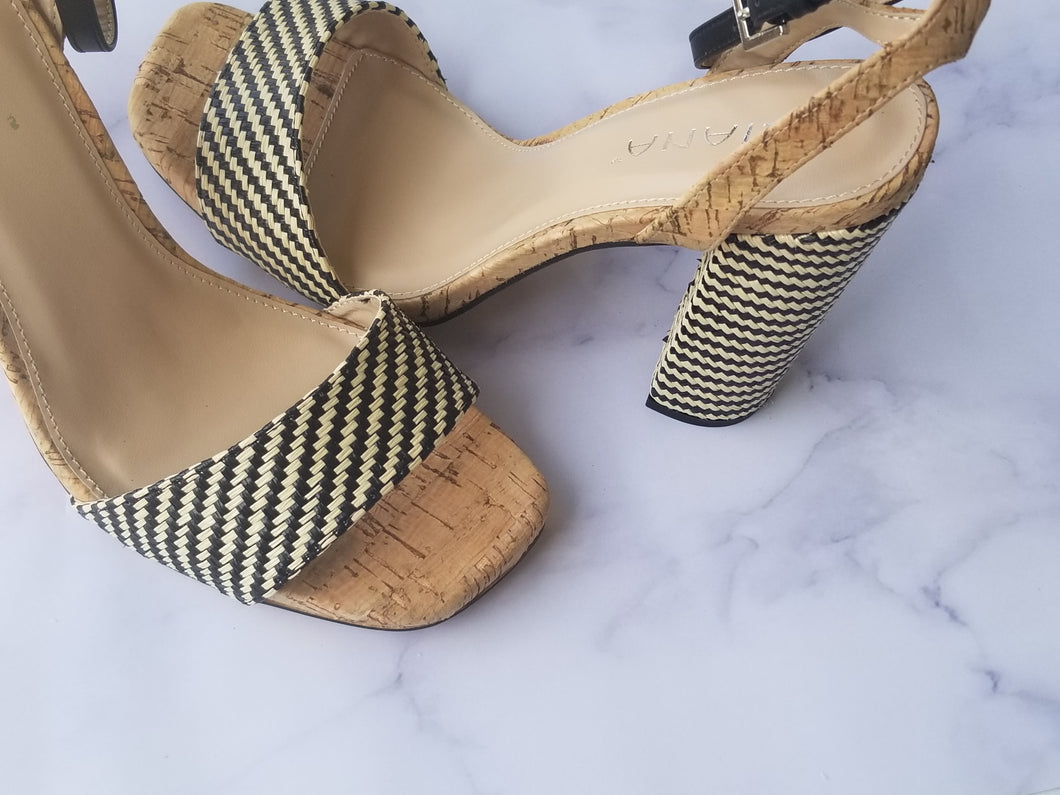 Striped Cork Heels