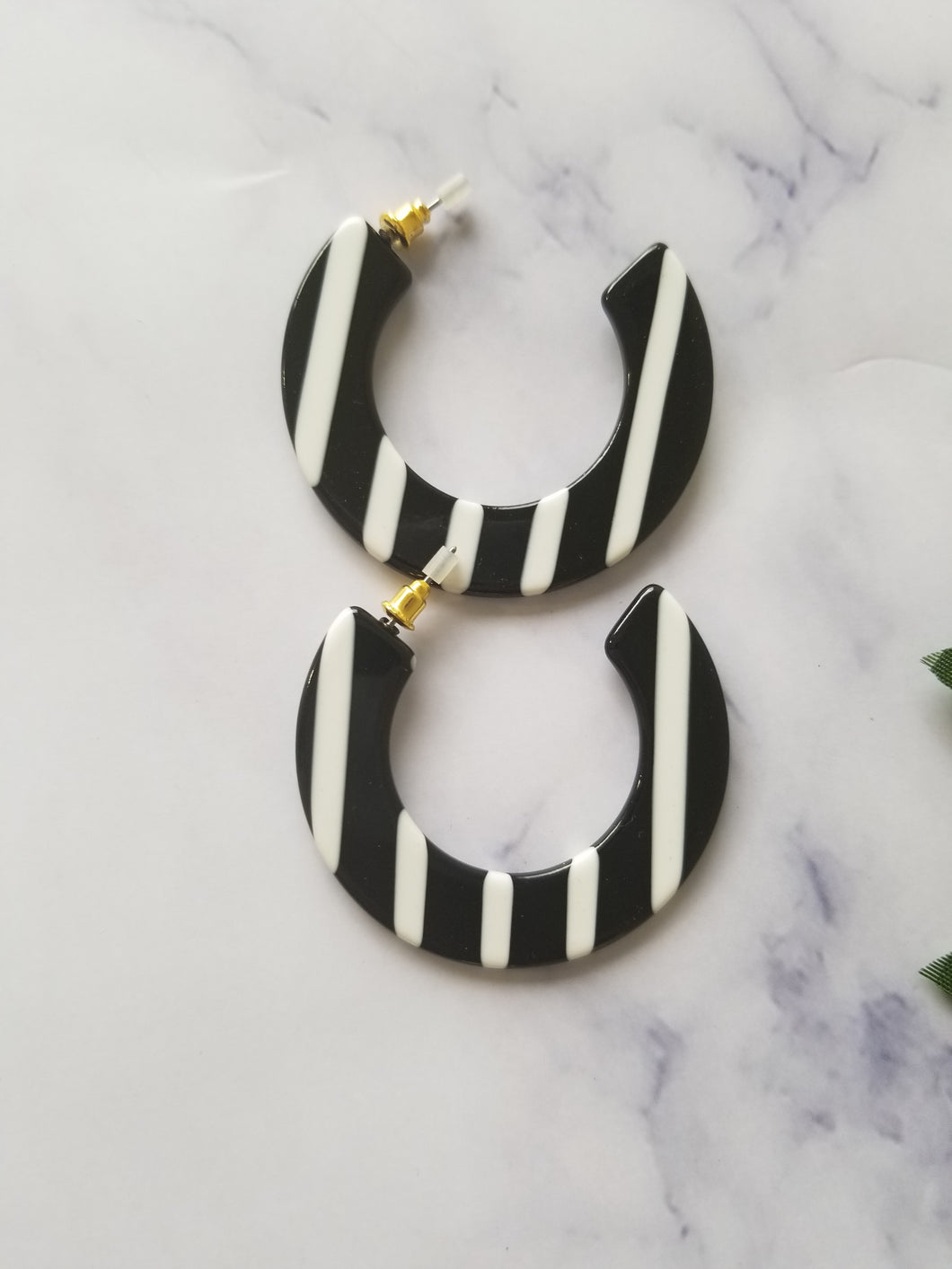 Black and White Striped Hoops