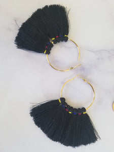 Colored Stitch Fringe Hoops