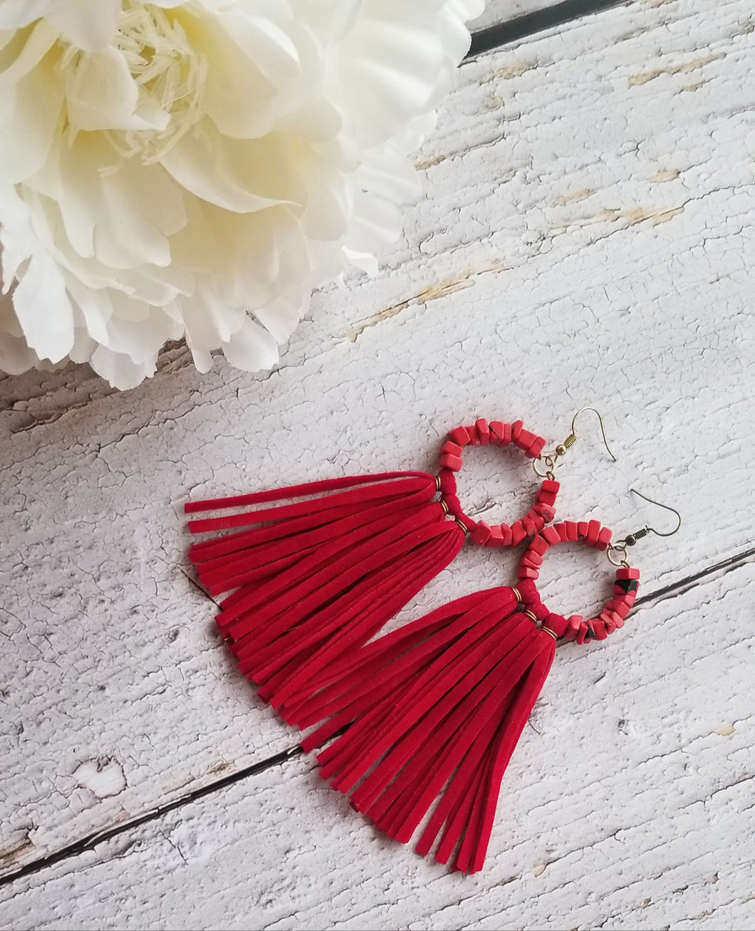 Red Boho Tassel Earrings