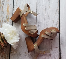 Load image into Gallery viewer, Taupe Wooden Heels
