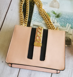 Soft Pink Chains Locks Handbag