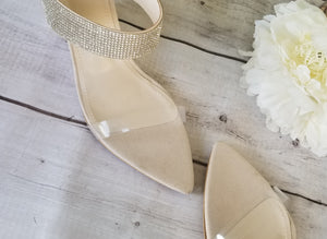 Bling and Clear Tan Wedges
