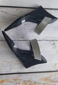 Bling and Clear Black Wedges