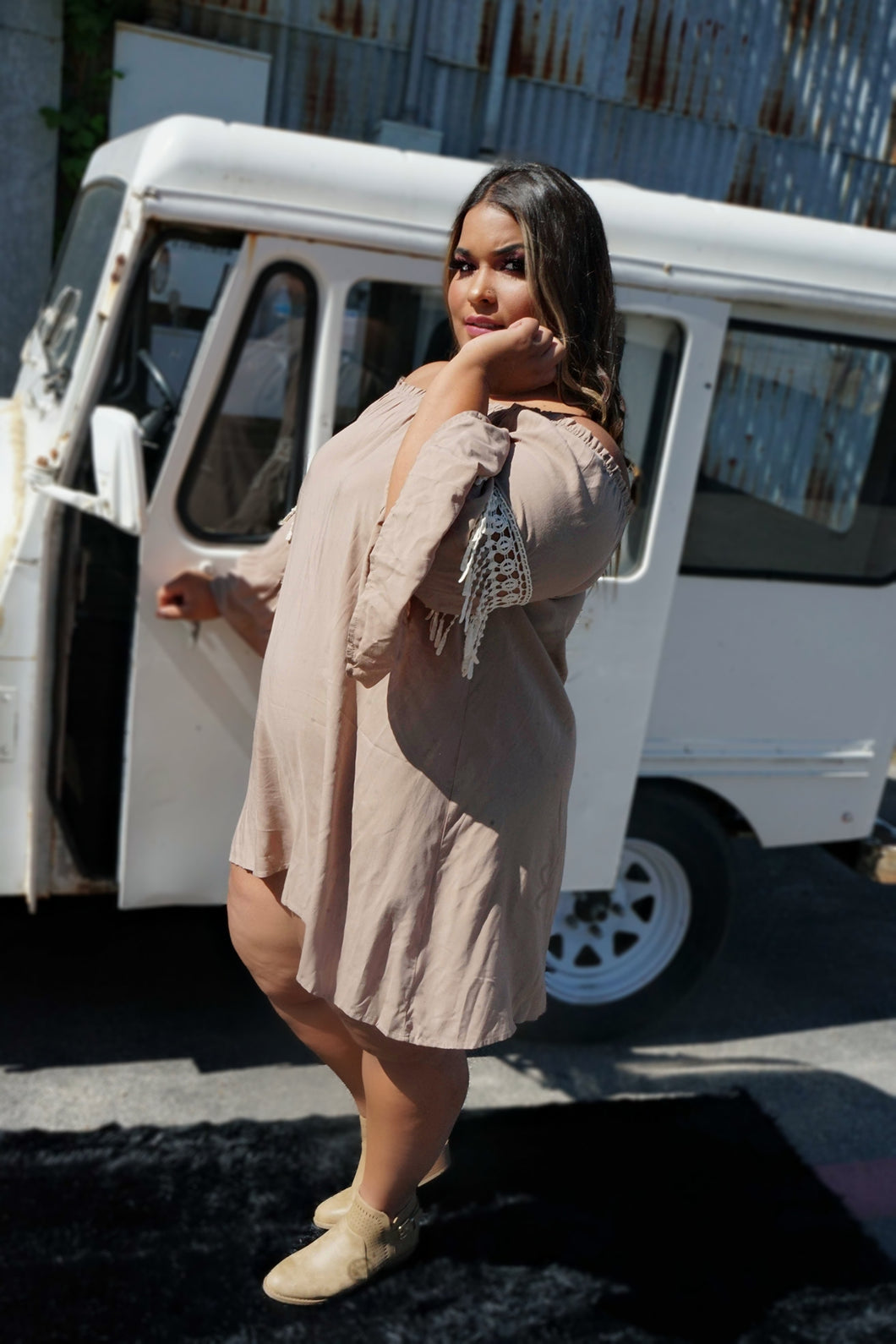 Fringe Off Shoulder Mocha Dress
