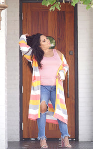 Long, Oversized Colorblock Cardigan