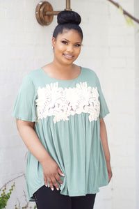 Embroidery Flowy Top (Sage)