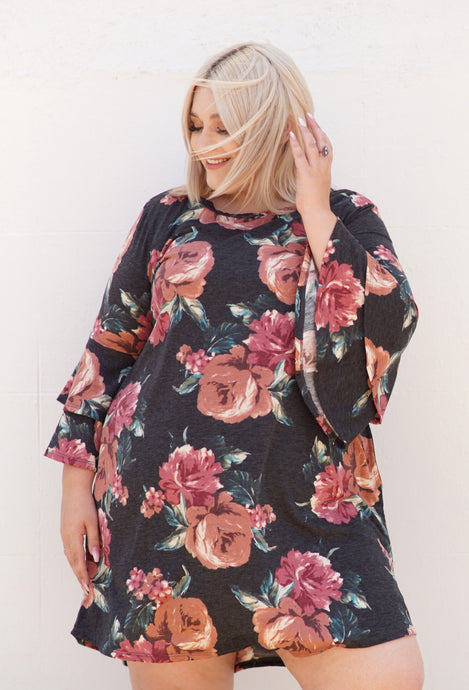 Floral Bell-sleeved Dress