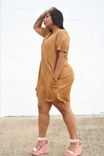 Load image into Gallery viewer, Camel Suede Midi Dress