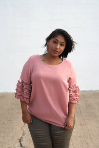 Mauve Ruffle, Mesh Sleeved Top